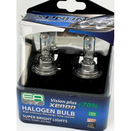 Комплект галогенных ламп EA Light X H7 12V 55W PX26d VISION PLUS+70% (пластиковый бокс 2шт)