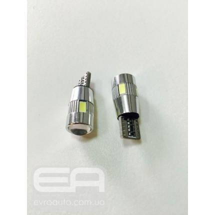 Светодиодная лампа T-10 6SMD (линза) 5630 Canbus