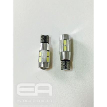 Светодиодная лампа T-10 10SMD (линза) Canbus 5630