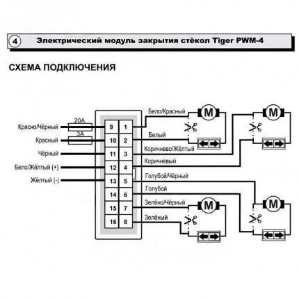 Интерфейс стеклоподъёмников Tiger PWM-4