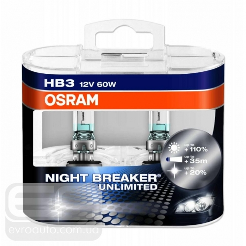 Галогеновая лампа OSRAM Night Breaker HB3 +110% 12V 55W