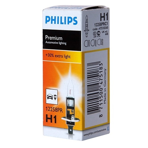 Галогеновая лампа Philips H1 12V 55W HALOGEN +30